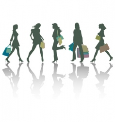 shopping girls silhouettes vector image