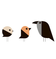 sparrow bullfinch and crow in a minimalist style vector image vector image