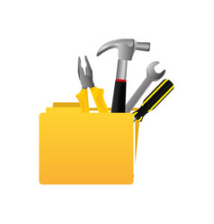yellow file with tools icon vector image