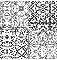 Black and White Textile Patterns Set vector image vector image
