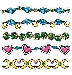 Borders with moon hearts and diamonds vector