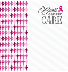 Breast cancer awareness ribbon women figures vector image