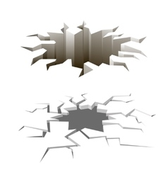 Cartoon ground cracks set Earthquake vector image vector image