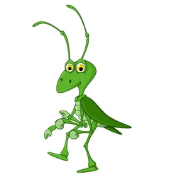 cute grasshopper cartoon walking vector image