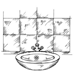 doodle washbasin and tiles vector image