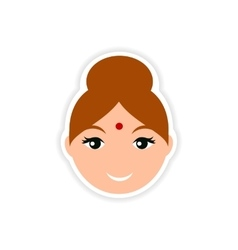 Paper sticker indian woman on white background vector