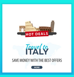 travel to italy travel template banners for vector image