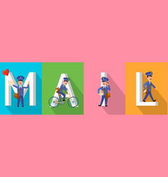 mail banner with letters and postman character set vector image