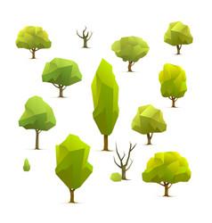 polygon trees set vector image vector image