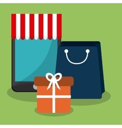 Shopping with smartphone design vector image