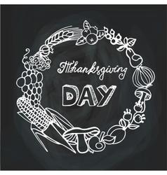 Thanksgiving dayHarvest Linear wreathChalkboard vector image vector image