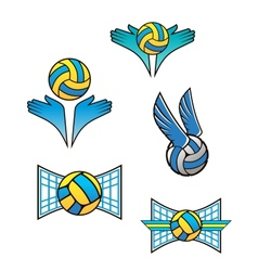 Volleyball sports symbols and icons vector image vector image