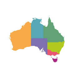 australia map color with regions flat vector image