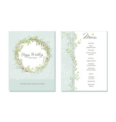 set of card with beautiful twigs with leaves vector image