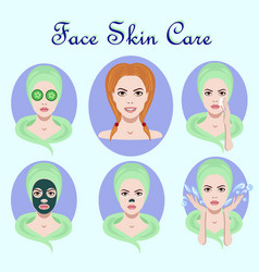 set of icons with facial skin treatment vector image