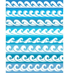set seamless waves vector image vector image