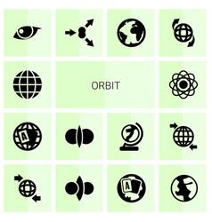 14 orbit icons vector