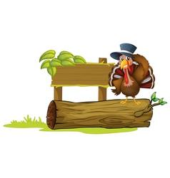 A turkey above a trunk beside an empty signboard vector
