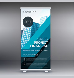 abstract blue standee roll up banner design vector image