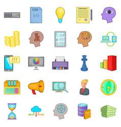 Agency icons set cartoon style vector