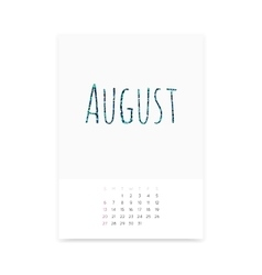 August 2017 Calendar Page vector image