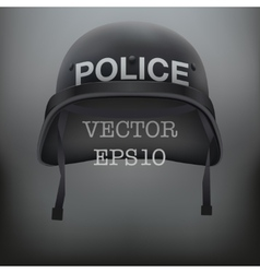 Background of police black helmet vector image