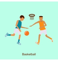 Basketball players in match vector