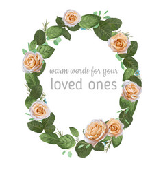 Beautiful oval frame wreath watercolor pattern vector
