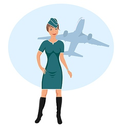 Beautiful stewardess vector