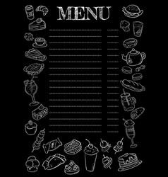 black and white chalkboard menu vector image