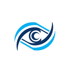 Blue eye care logo icon symbol design vector