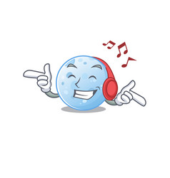 Blue moon cartoon design concept listening music vector