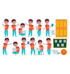 Boy schoolboy kid poses set primary school vector