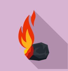 Burning coal icon flat style vector