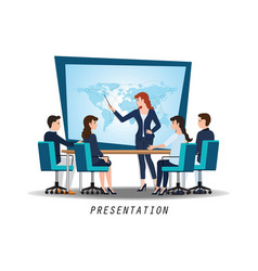 Business woman presenting world business on vector