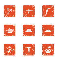 Camper icons set grunge style vector