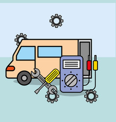 car service maintenance electrical and tools vector image