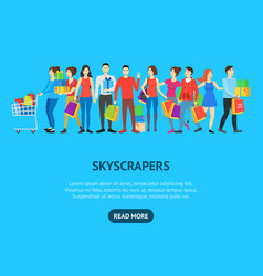 cartoon characters different shopping people card vector image