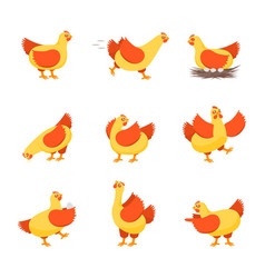 cartoon characters happy hens set vector image