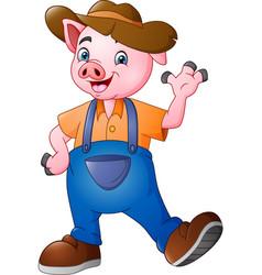 cartoon little farmer pig waving hand vector image