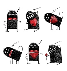Character Ugly Eccentric Monster in Love with Red vector image