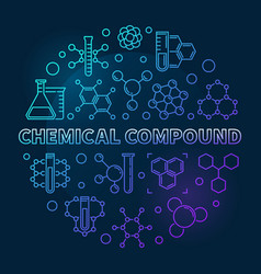 Chemical compound blue round outline vector