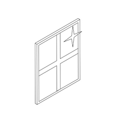Clean shiny window icon isometric 3d style vector image