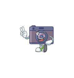 Cute cartoon mascot picture retro camera with vector