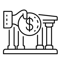 deposit money bank icon outline style vector image