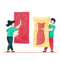 Designers working at model new dress sewers vector