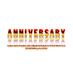 elegant silver and golden anniversary celebration vector image
