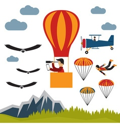 Extreme selfie air balloon flat design vector