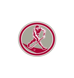 Field Hockey Player Running With Stick Retro vector