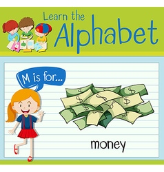 Flashcard letter M is for money vector image